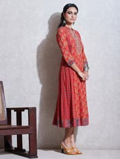 Red Printed Anarkali Kurta