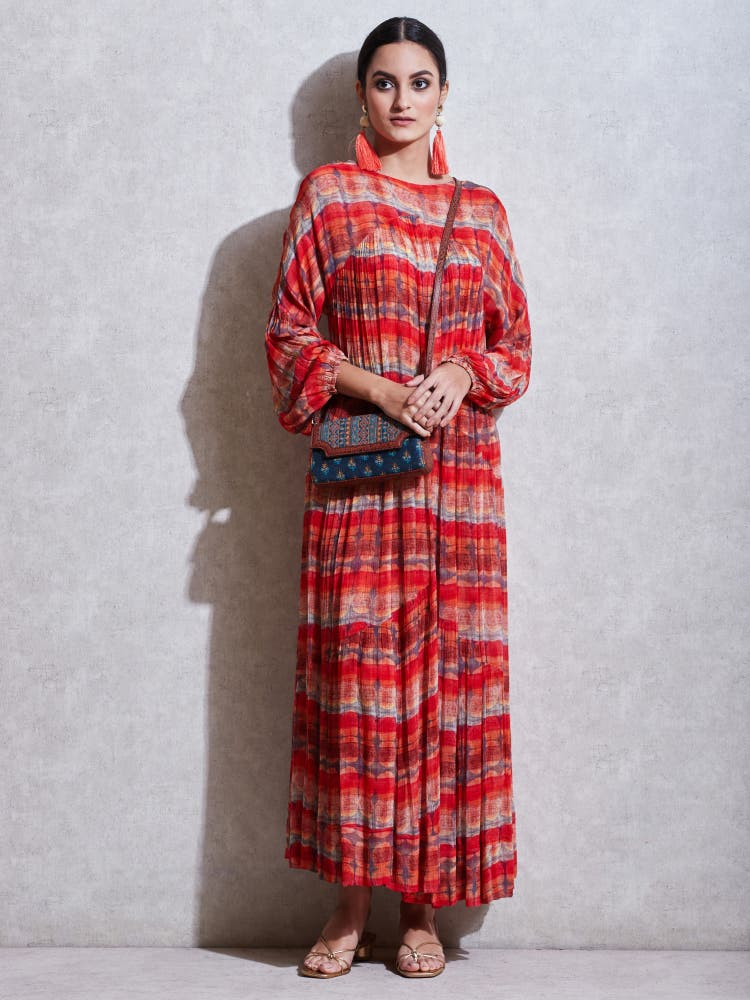 Red Geometric Print Kurta Dress