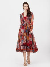 Multi Print Pleated Chiffon Anarkali Kurta