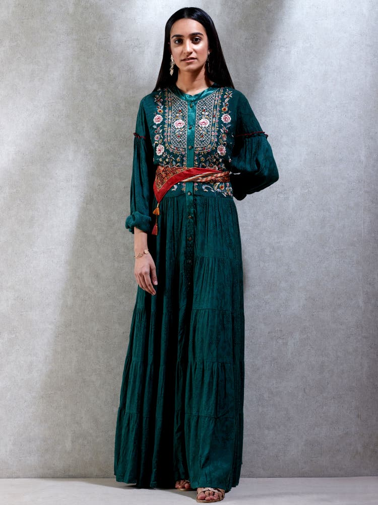 Green Embroidered Kurta Dress