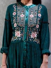 Green Embroidered Kurta Dress