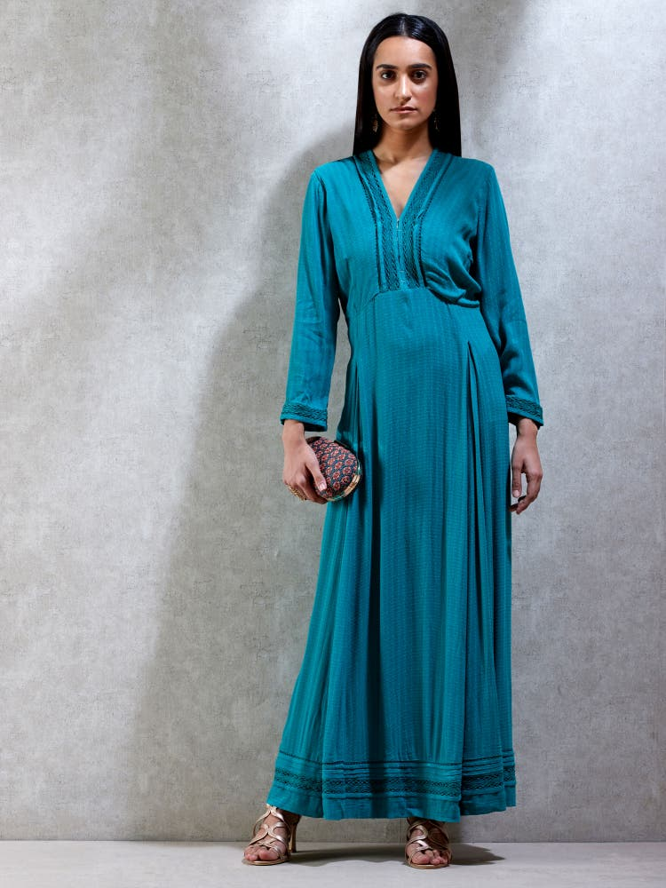 Green Textured Kurta Dress