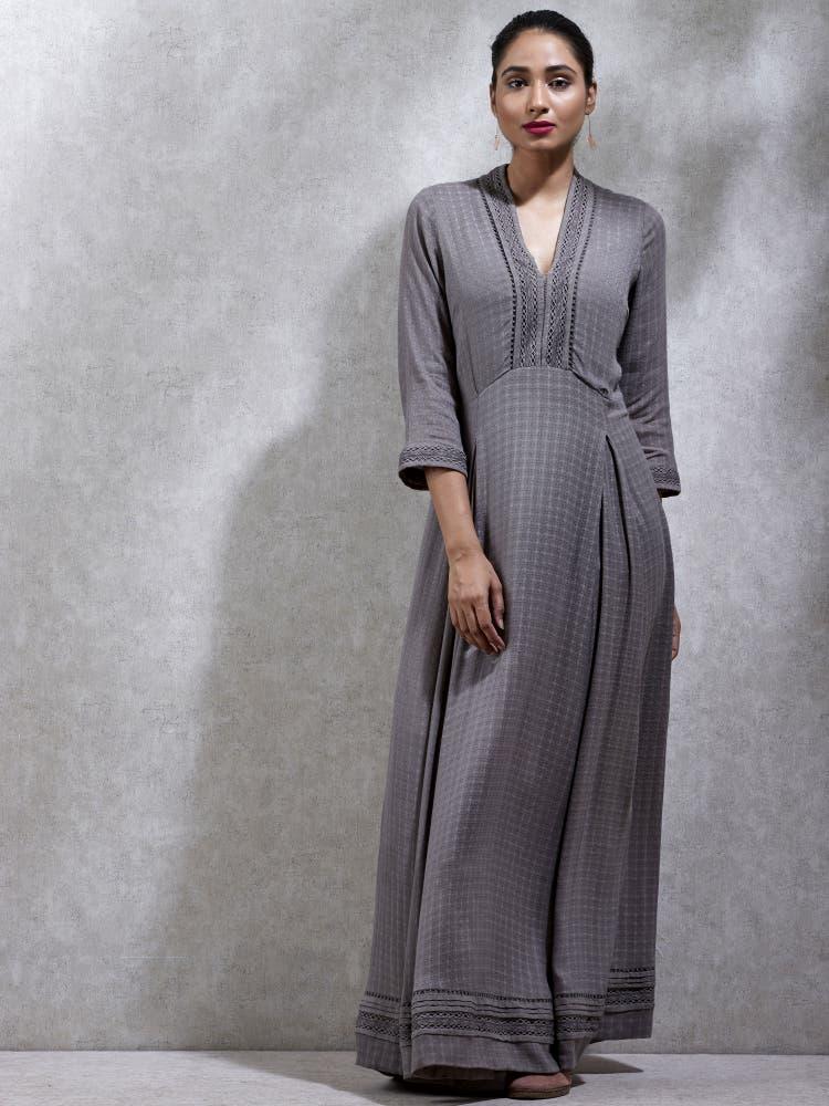 Grey Textured Kurta Dress