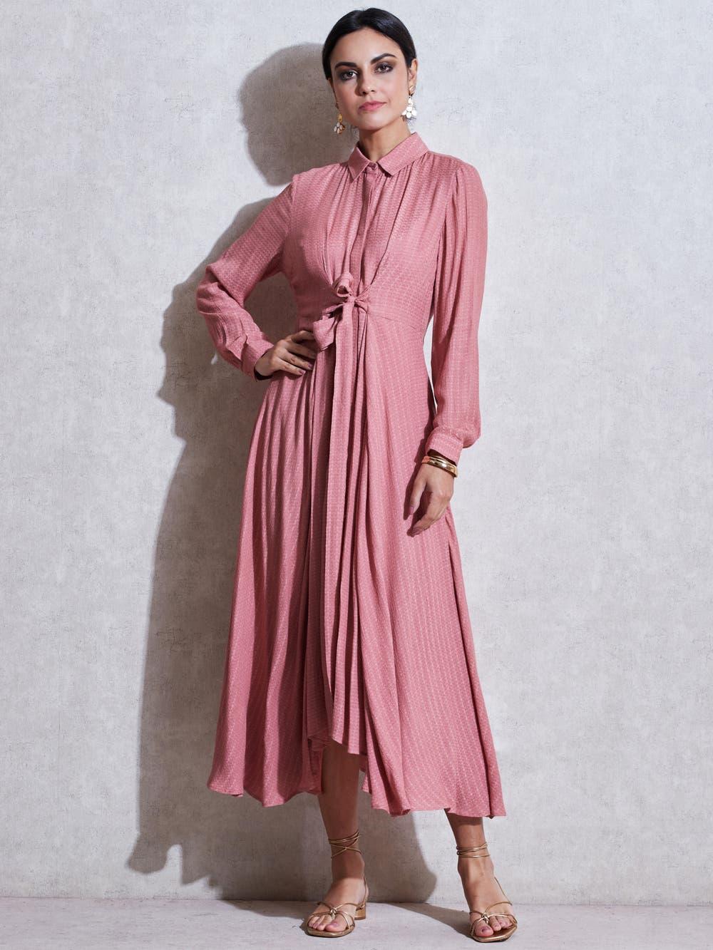 Pink Self-Tie Kurta Dress