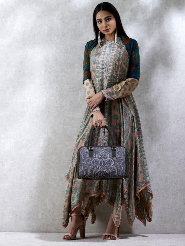 Beige Phulkari Layout Dress