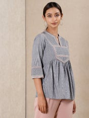 Grey & Pink Embroidered Kurti