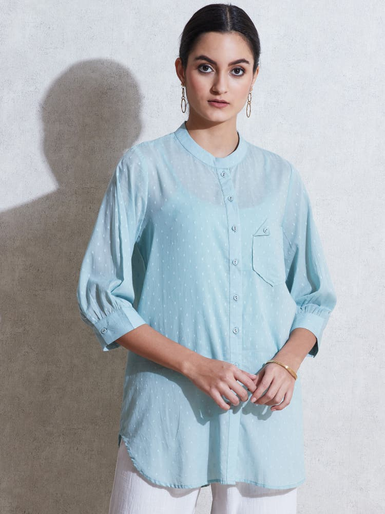 Sea Green Cotton Shirt Kurti