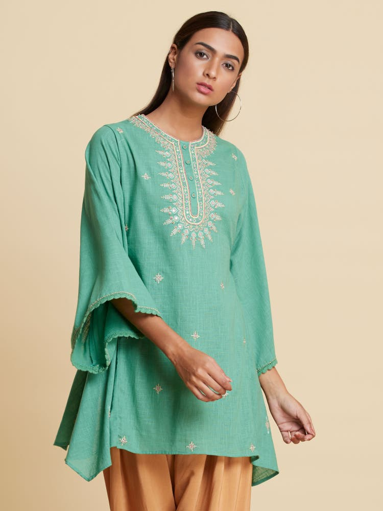 Green Embroidered Kaftan Style Kurti