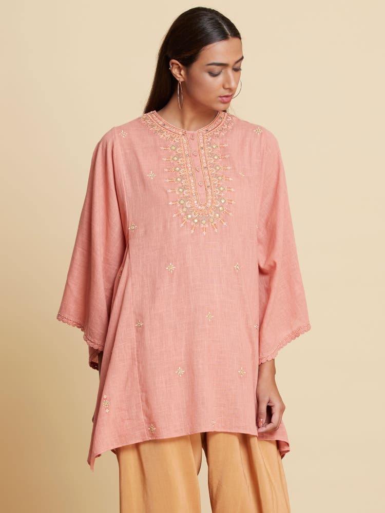 Old Rose Embroidered Kaftan Style Kurti