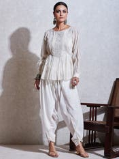 Ivory Embroidered Cotton Kurti with Tie-Up