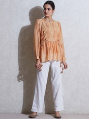 Peach Embroidered Chanderi Kurti with Tie-Up