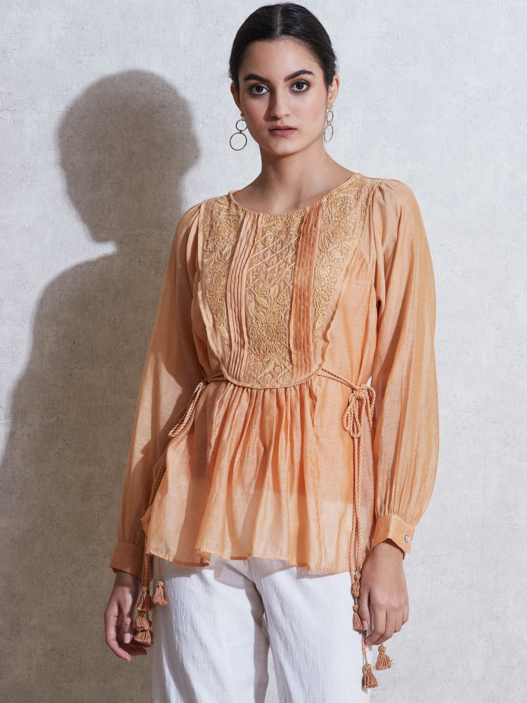 Peach Embroidered Cotton Kurti with Tie-Up