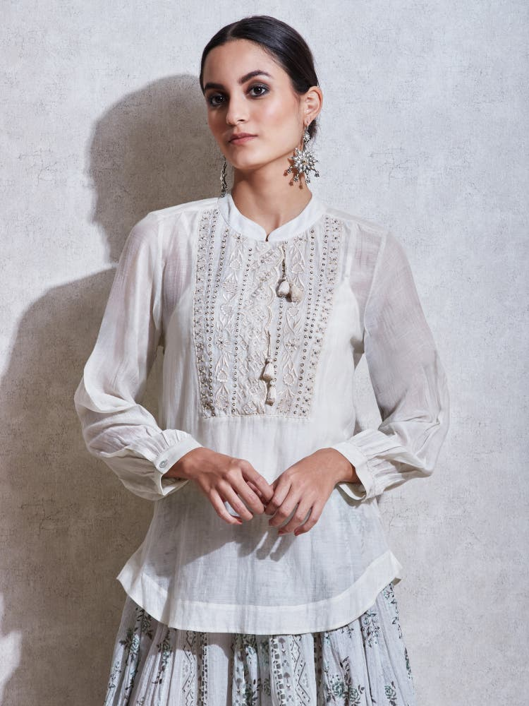 Ivory Embroidered Kurti