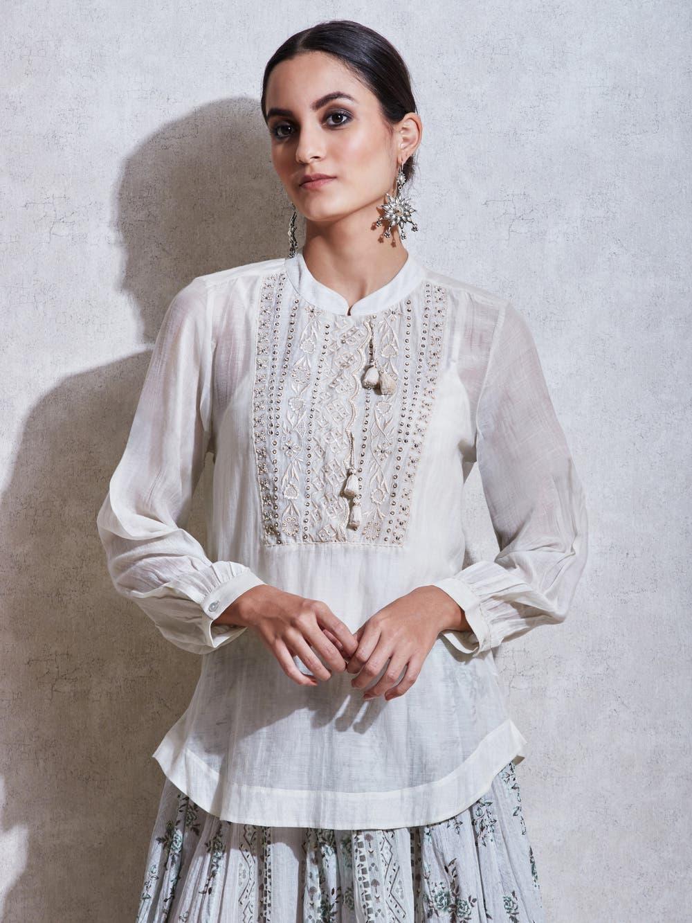 Ivory Embroidered Kurti