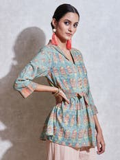 Green Printed Kurti with Tie-Up
