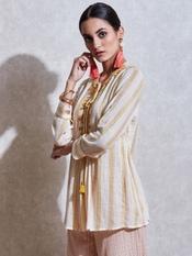 Ecru Embroidered Cotton Kurti