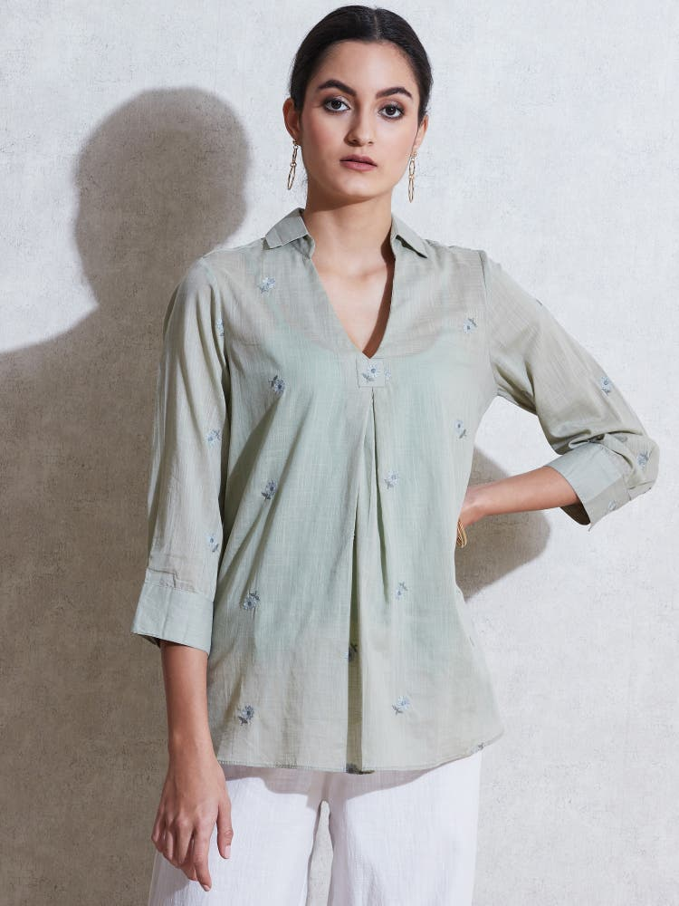 Sage Green Self-Work Cotton Kurti