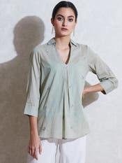 Sage Green Self-Work Cotton Kurti