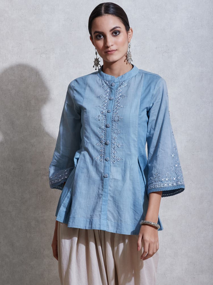 Powder Blue Embroidered Kurti