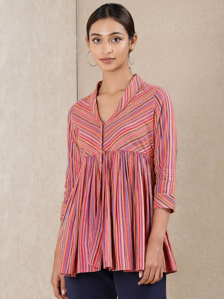 Pink Striped Cotton Kurti