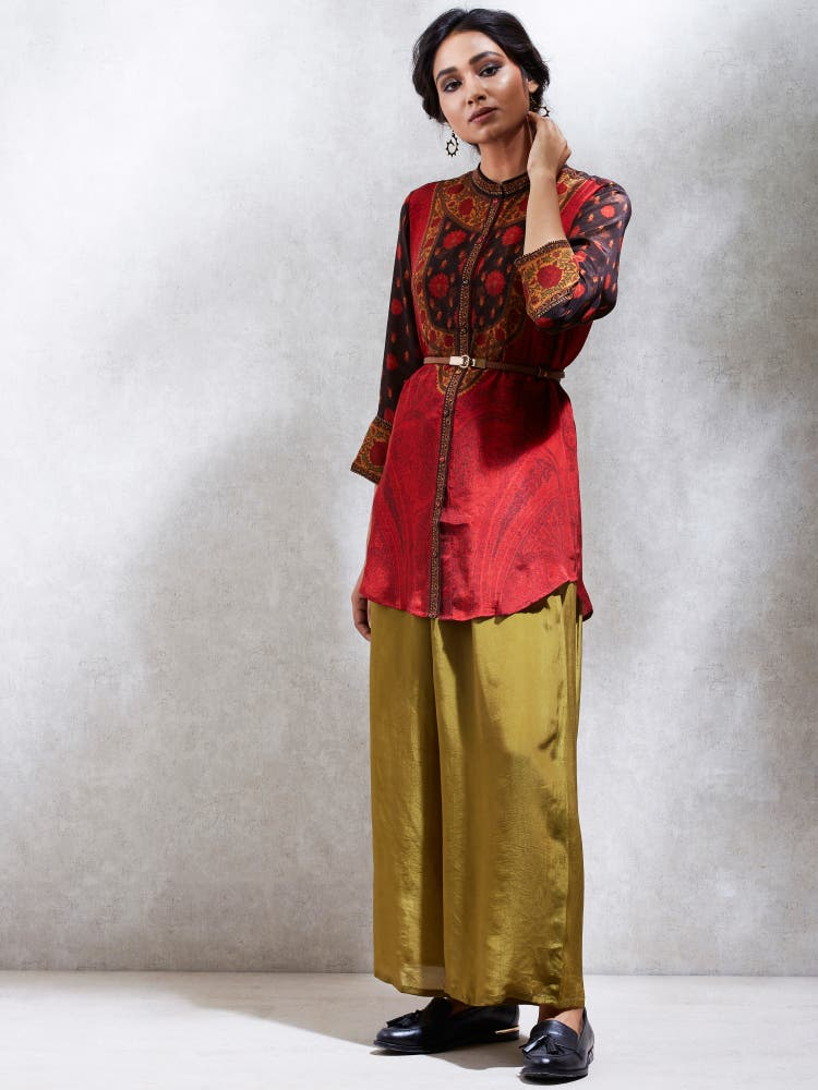 Brick Red & Brown Jamaavar Kurti