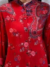 Cherry Red Floral Print Kurti