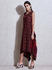 Burgundy & Black Printed Asymmetric Dress