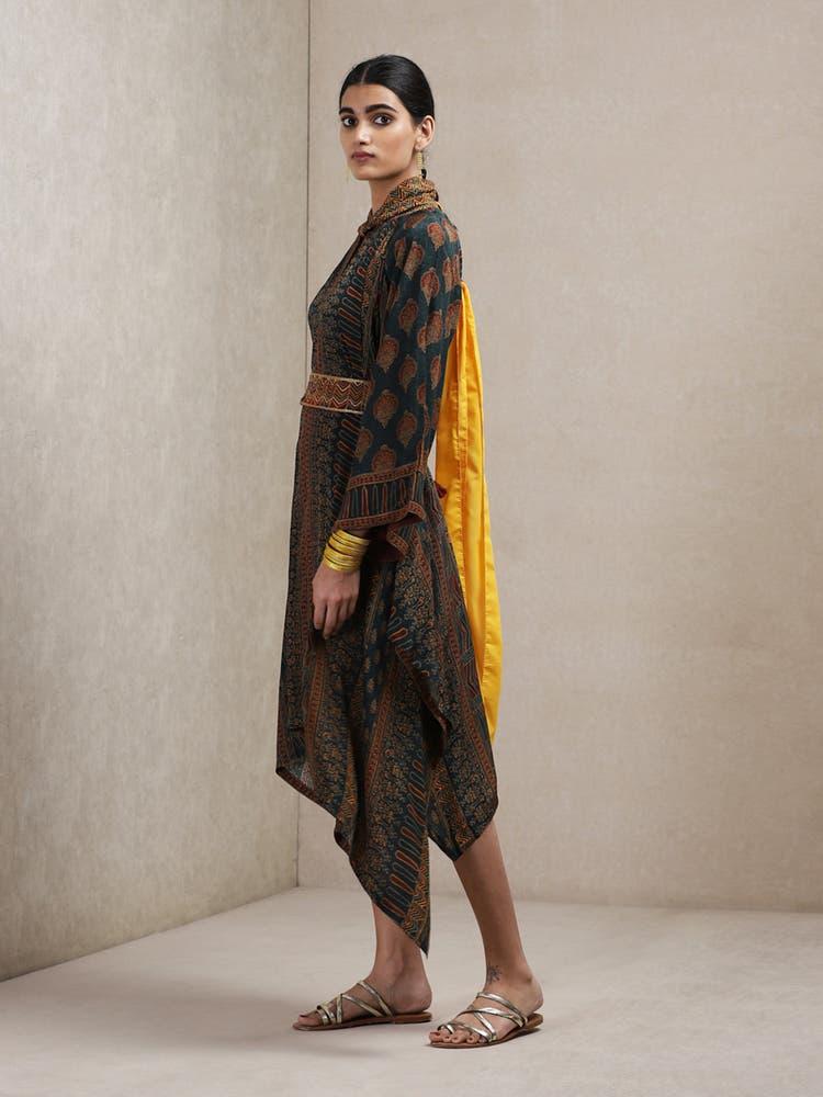 Emerald & Burgundy Printed Asymmetrical Dress