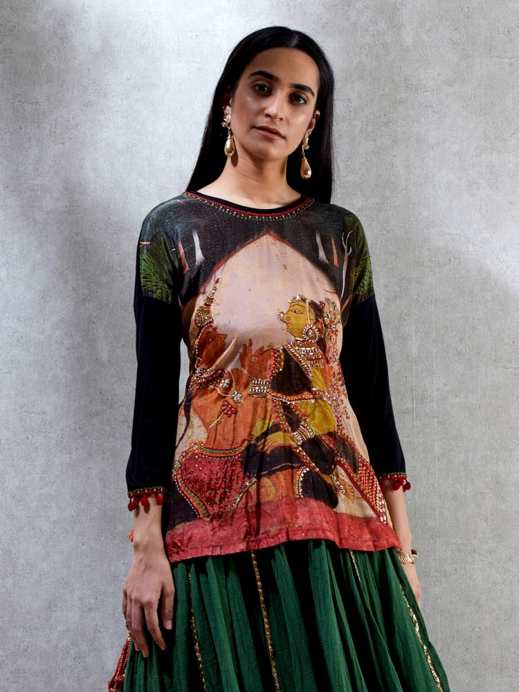 Black & Green Printed Kurti