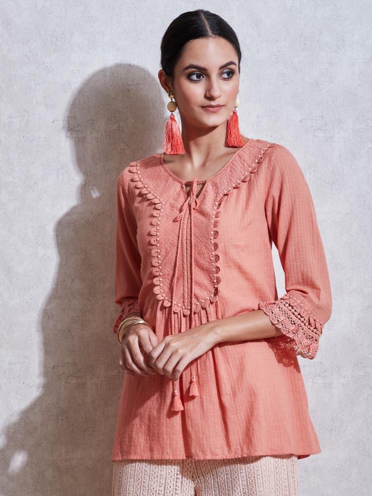 Rose Pink Cotton Kurti