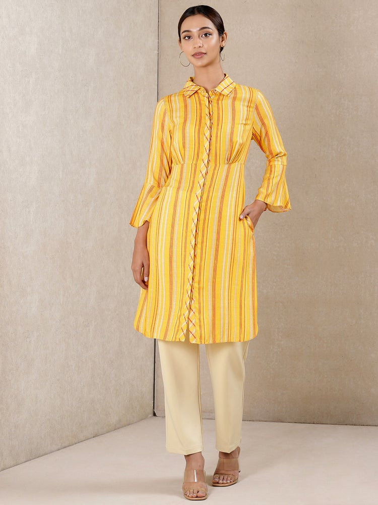 Yellow Striped Kurti