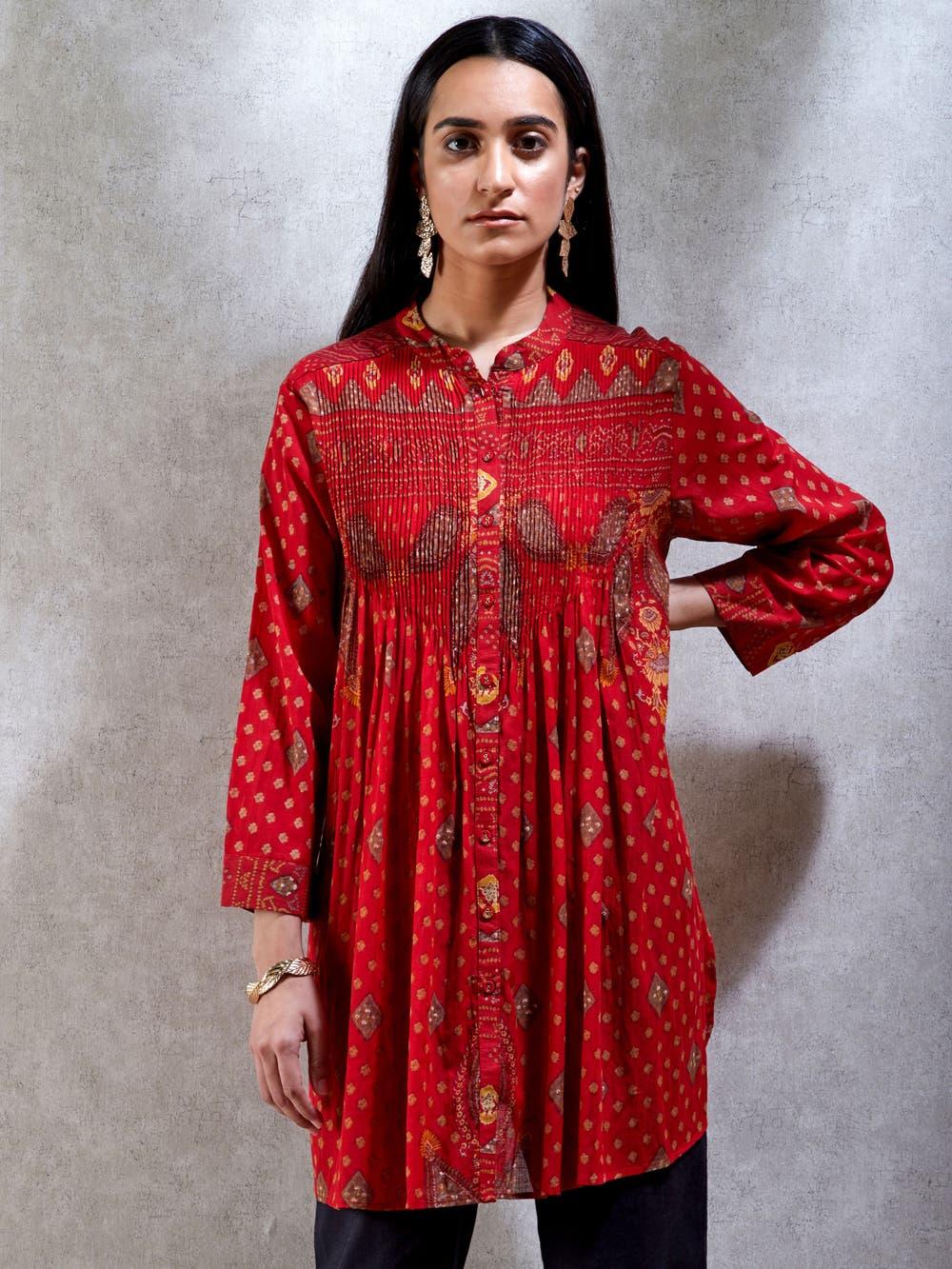 Red Printed Shirt Kurti