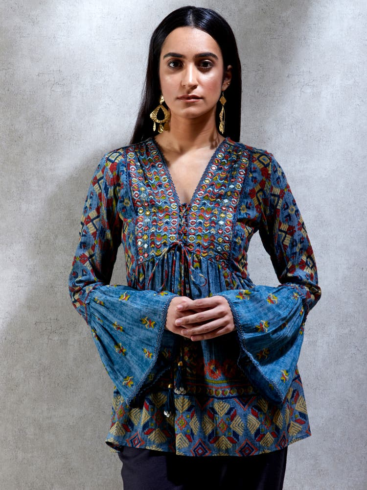 Smokey Blue Bell Sleeves Kurti