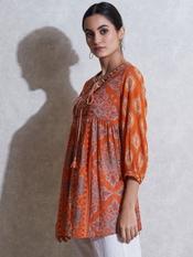 Orange Printed Kurti