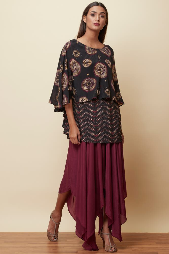 Navy Blue Printed Layered Kurti