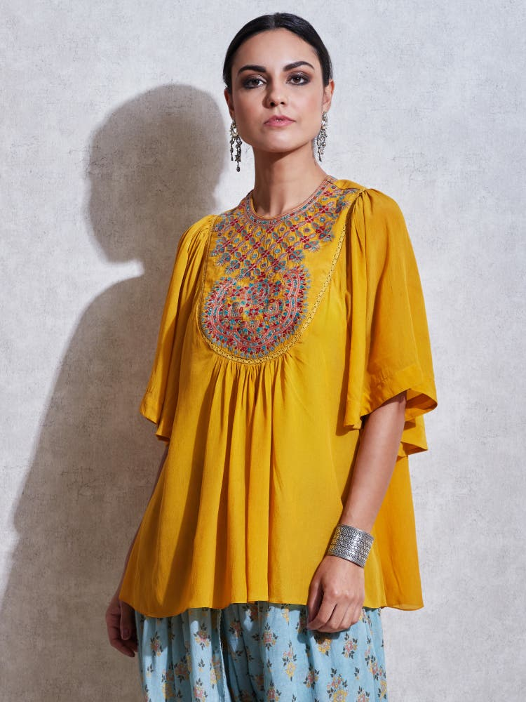 Yellow Embroidered Crepe Kurti