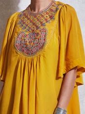 Yellow Embroidered Crepe Kurti