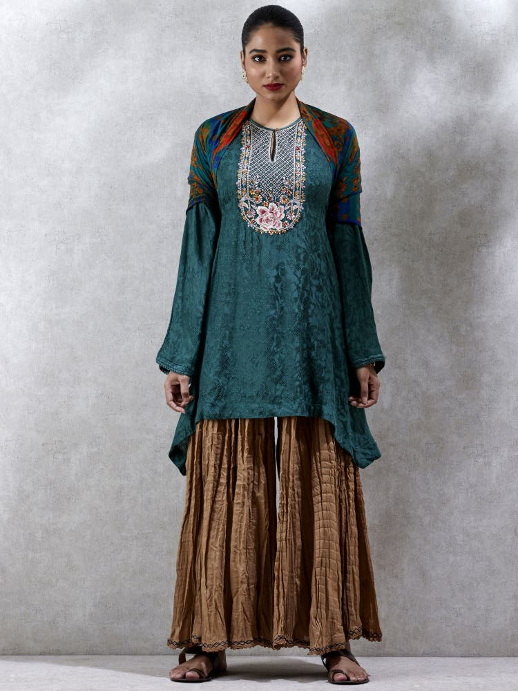 Green Embroidered Asymmetric Kurti