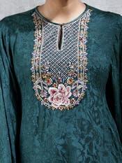 Green Embroidered Asymmetric Kurti