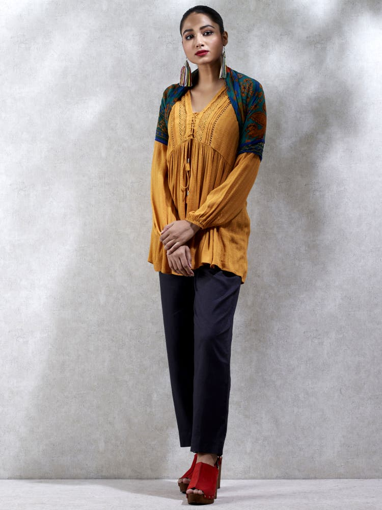 Mustard Yellow Flared Kurti