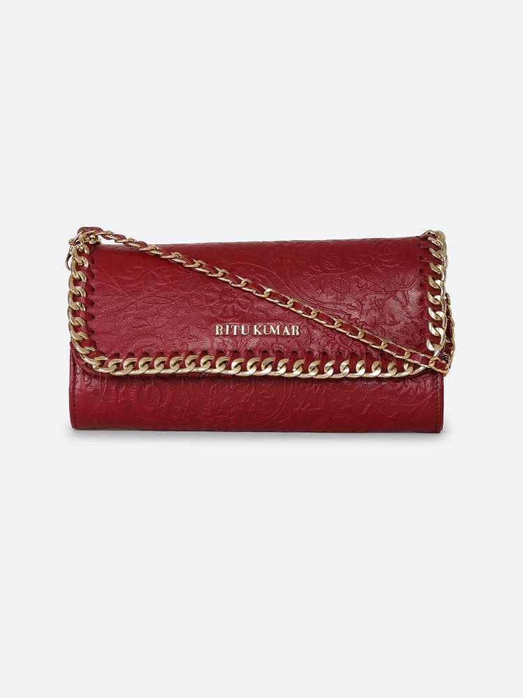 Red Leather Rectangle Sling Bag