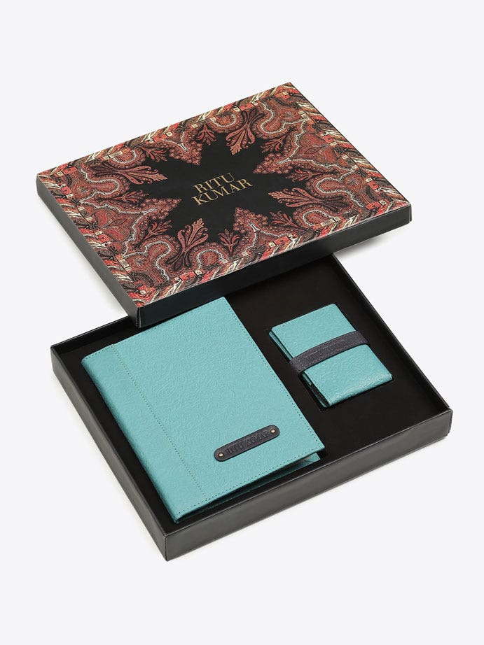 Blue Embossed Leather Gift Set