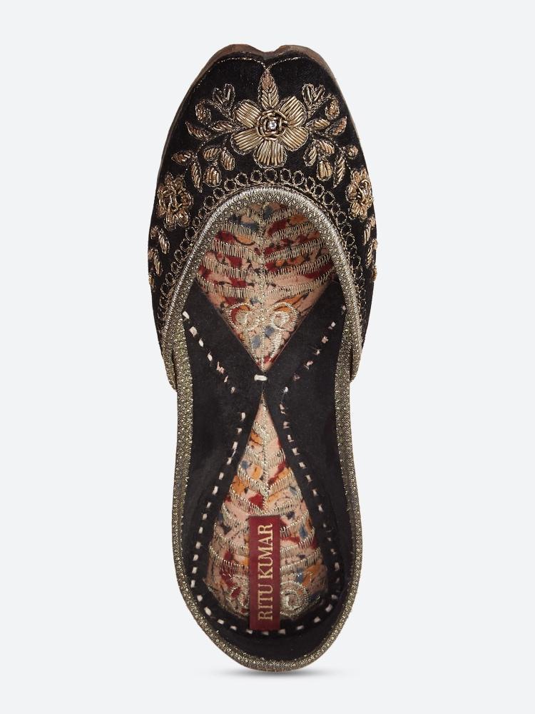 Black Khoobsurat Leather Mojari