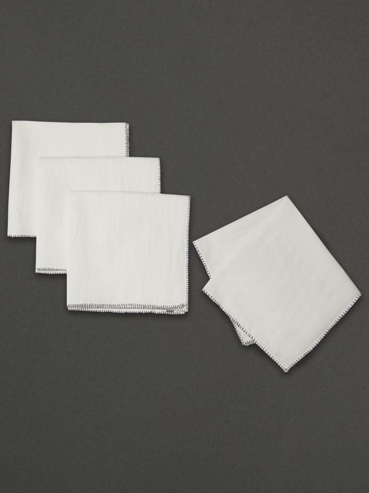 Black & White Awadh Napkin (Set of 4)