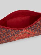 Red Kutch Print Flat Pouch