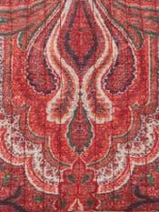 Rust Jamavar Print Flat Pouch