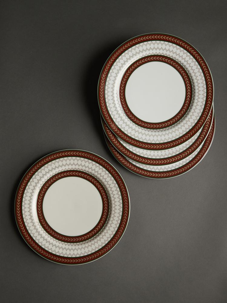 Off White Baagh Dinner Plate (Set of 4)