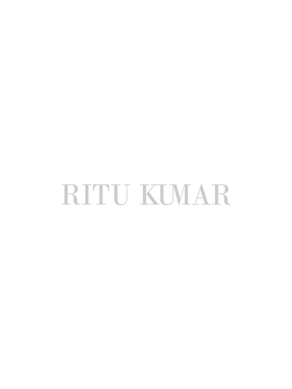 Black & White Awadh Dinner Plate (Set of 4)