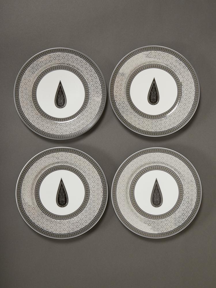 Black & White Awadh Side Plate (Set of 4)