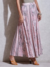 Pink Floral Flared Palazzo